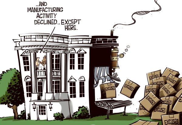 Eric Allie - Caglecartoons.com - Manufacturing COLOR - English - Obama, economy, jobs, business, manufacturing, unemployment, gdp