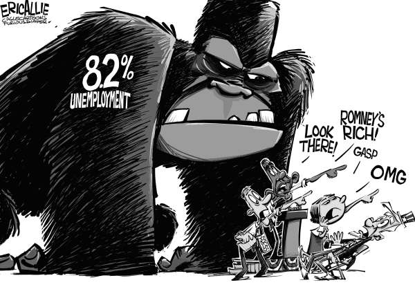 Eric Allie - Caglecartoons.com - Distraction - English - unemployment, jobs, work, distraction, rich, Romney, Obama, democrats, squirrel, bain, class war, tax, gdp, economy, media, smear