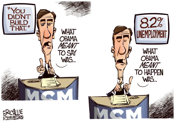 Eric Allie - Caglecartoons.com - Media explains COLOR - English - media, msm, you didnt build that, obama, small business, campaign