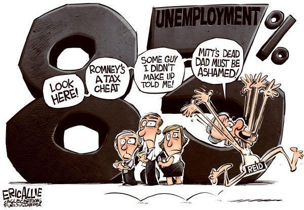Eric Allie - Caglecartoons.com - Harry distraction COLOR - English - Harry Reid, low life, scum, twerp, Obama, dirty, change, hope, a new kind of politics, chicago, unemployment, 83, economy, GDP, jobs, senate, fail, pederast harry