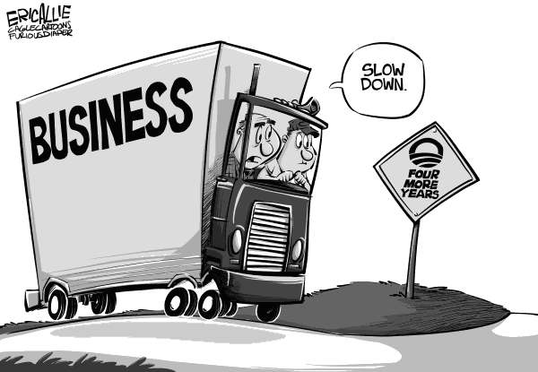 Eric Allie - Caglecartoons.com - Economic road signs - English - economy, jobs, employment, unemployment, GDP, election, obama, business,