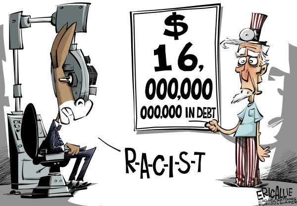 Eric Allie - Caglecartoons.com - 16 trillion COLOR - English - debt, racism, democrats, campaign, progressive, attack, race card, trillions, obama, barack,