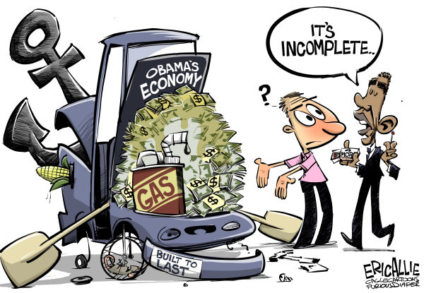 Eric Allie - Caglecartoons.com - Incomplete COLOR - English - Obama, jobs, economy