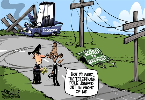 Eric Allie - Caglecartoons.com - Blameless Obama COLOR - English -  obama, barack, economy, GDP, jobs, employment, debt, deficit, tax hikes, europe, california, illinois, blame bush