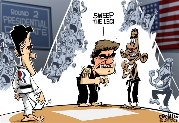 Eric Allie - Caglecartoons.com - Debate two No Mercy COLOR - English - Karate kid, the left, debate, presidential, romney, sweep the leg, no mercy, left wing loons