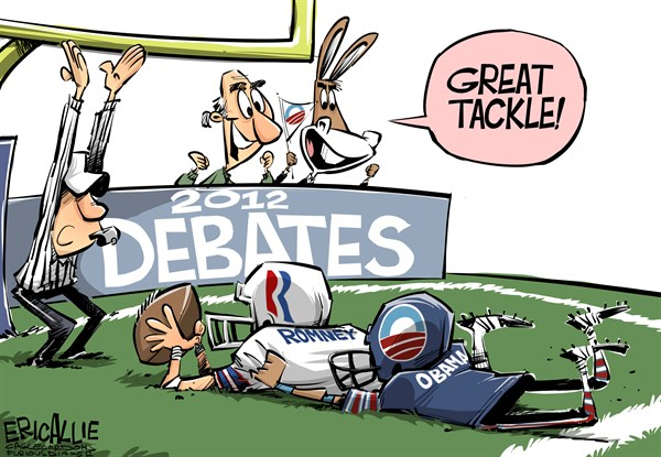 Eric Allie - Caglecartoons.com - The debates COLOR - English - Obama, Romney, debates, 2012, election