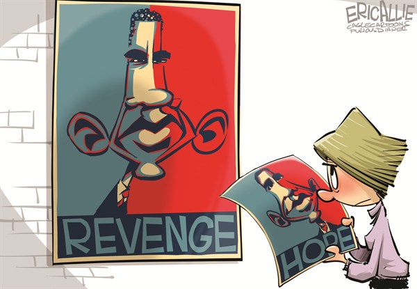Eric Allie - Caglecartoons.com - Revenge vs Hope COLOR - English - Obama, election, revenge, barack, negative