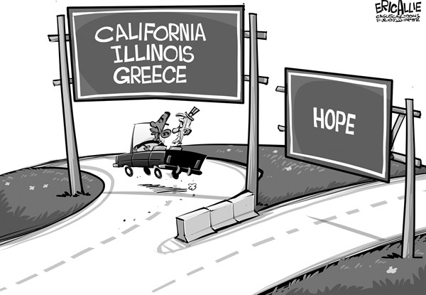 Eric Allie - Caglecartoons.com - A new direction - English - economy, debt, hope, election,obama, unemployment, california, greece, illinois