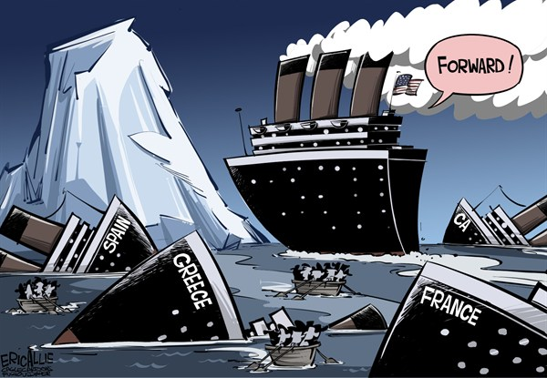 Eric Allie - Caglecartoons.com - RMS Progressive COLOR - English - EU,economy,obama,forward,titanic,France,Spain,California,Illinois,the blue model,left wing ideas,progressive