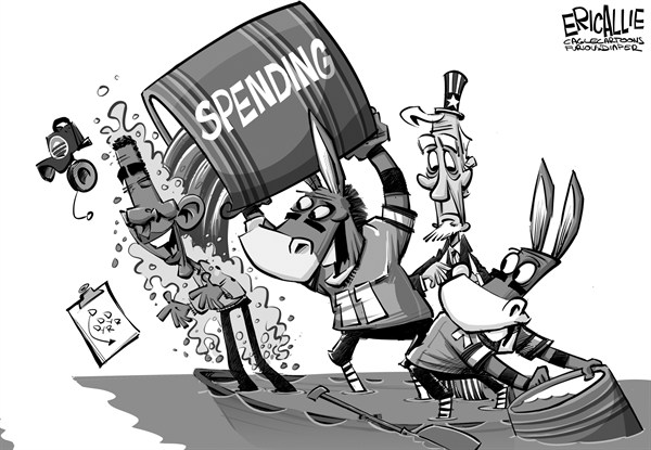 Eric Allie - Caglecartoons.com - Democrats win fiscal game - English - democrats, spending, tax, deficit, debt, sink