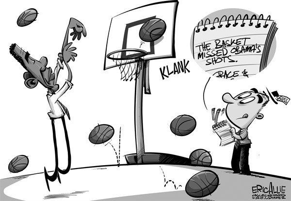 Eric Allie - Caglecartoons.com - Obama shoots hoops - English - media, press, obama, basketball, sycophants