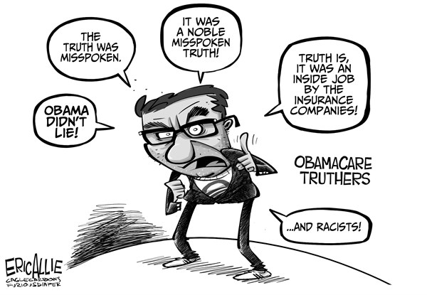 Eric Allie - Caglecartoons.com - Defending Obama - English - truthers, obamacare, msm, democrats, insurance, like it keep it, misspoke