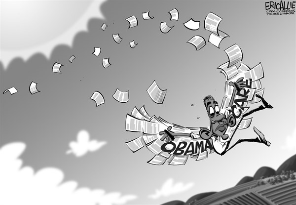 Eric Allie - Caglecartoons.com - ObamaCare overreach - English - obamacare, fail, progressive over reach, Icarus, ACA, insurance, mandates, economy