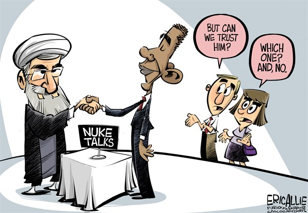Eric Allie - Caglecartoons.com - Nuke talks COLOR - English - iran, nuclear talks, bomb, nuke, obama, trust, polls, lost trust