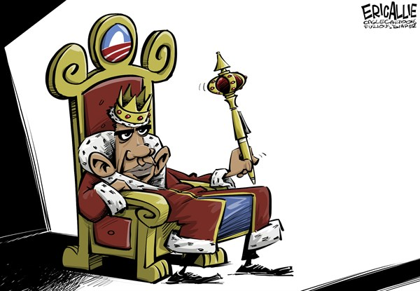 Imperial Presidency © Eric Allie,Caglecartoons.com,pen, obama, executive order, democrats