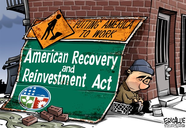 Recovery act © Eric Allie,Caglecartoons.com,recovery, economy, stimulus, crony, obama, democrats, employment, participation rate, jobless recovery