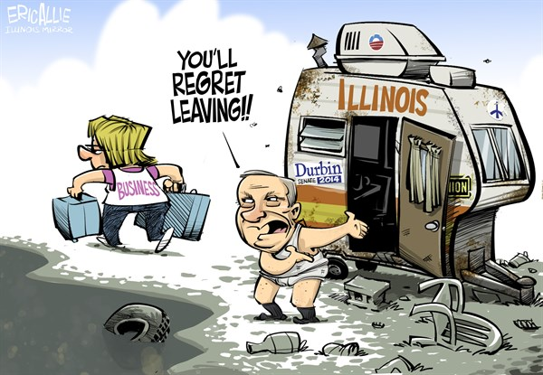 LOCAL IL Durbin and Business © Eric Allie,Caglecartoons.com,dick durbin, illinois, walgreens, taxes, business, regulation