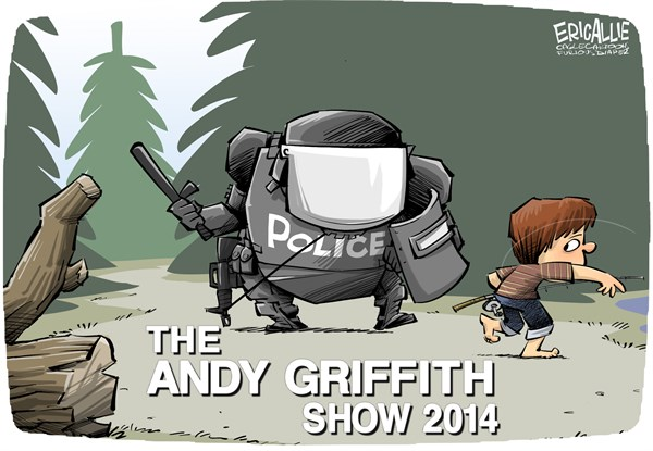Eric Allie - Caglecartoons.com - Militarized police COLOR - English - military style police, change