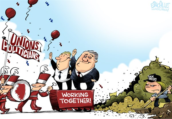 Working together © Eric Allie,Caglecartoons.com,unions, democrats, pensions, tax payers, debt
