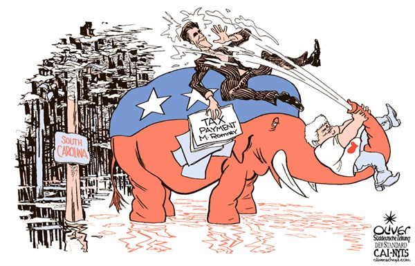 Romneys Taxes © Oliver Schopf,Der Standard, Austria,Romney,Gingrich,taxes,primary,South Carolina,GOP,campaign