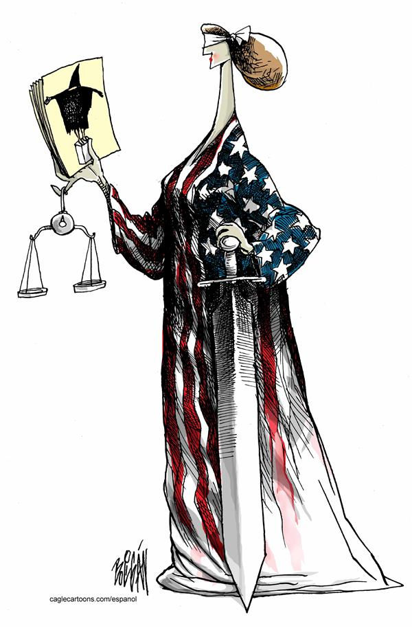 Blind American Justice © Angel Boligan,El Universal, Mexico City, www.caglecartoons.com,scales,justice,prison,iraq,abu,gharib,abuse,flag,sword,blindfold,photo