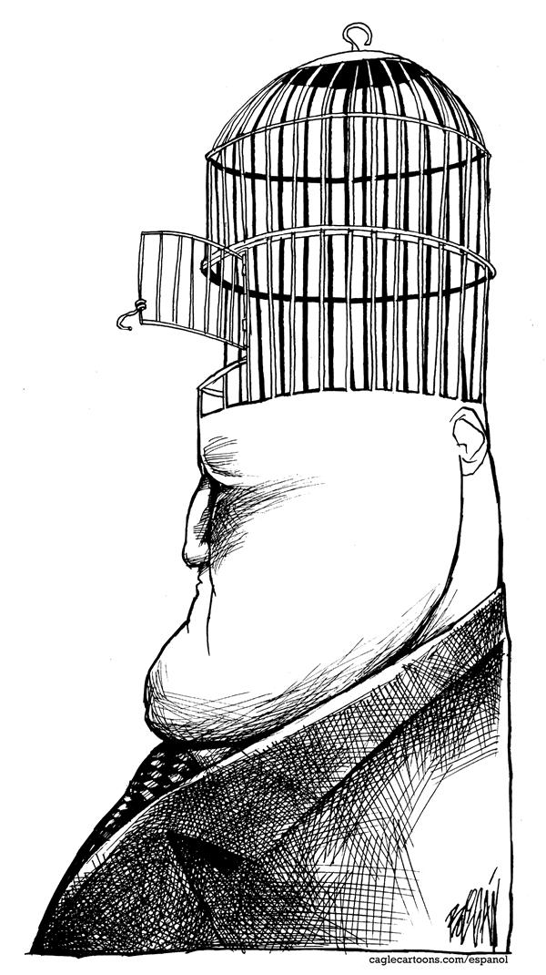 Angel Boligan - El Universal, Mexico City, www.caglecartoons.com - Flight of brain - English - bird cage, man, brain, scape, idea