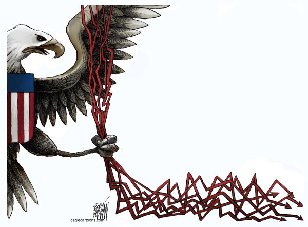 Angel Boligan - El Universal, Mexico City, www.caglecartoons.com - Crisis / COLOR - Spanish - aguila, crisis, estados, unidos, dinero, economia