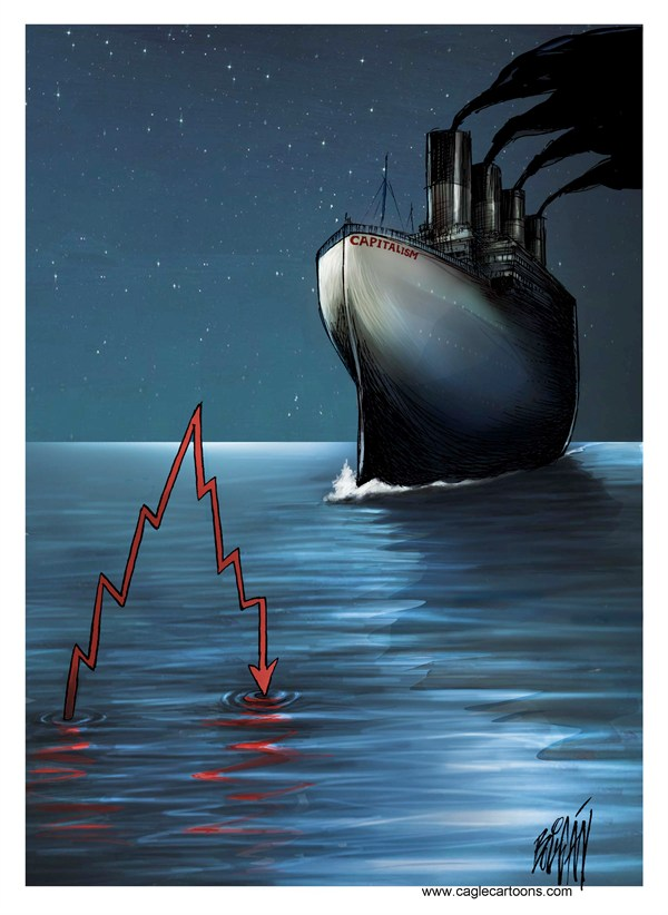 Angel Boligan - El Universal, Mexico City, www.caglecartoons.com - Capitalism - English - Economy, recession, crisis, system, Capitalist, Capitalism, money, Titanic, ship, sank, shipwreck