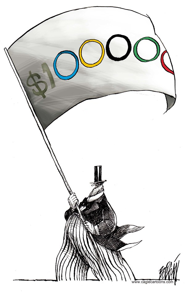 Angel Boligan - El Universal, Mexico City, www.caglecartoons.com - Spirit of the Olympics - English - Olympics,spitit,business,rich,top hat,rings,money,flag,Britain