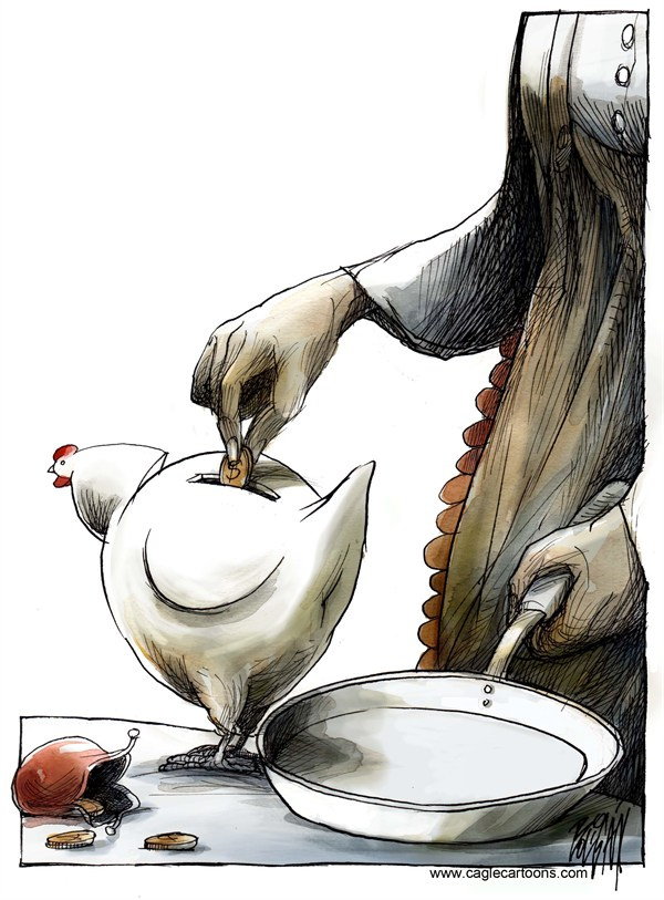Angel Boligan - El Universal, Mexico City, www.caglecartoons.com - The Chicken of the Golden Eggs - English - chicken,eggs,pan,kitchen,cook,savings,bank, economy,money