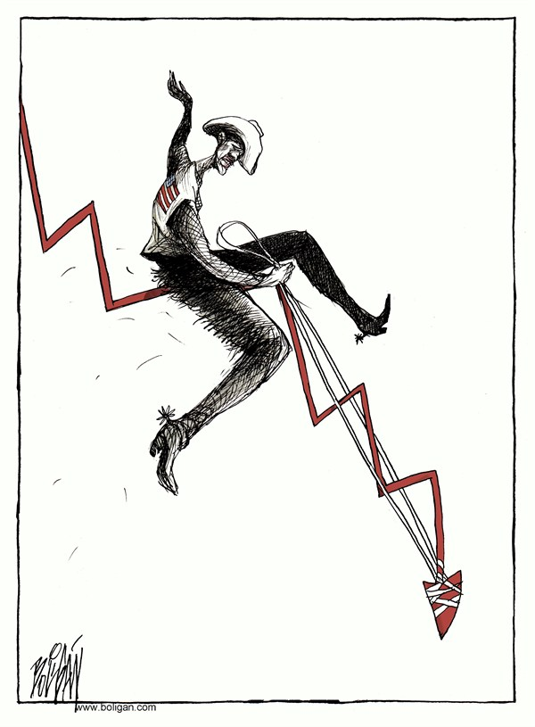 Angel Boligan - El Universal, Mexico City, www.caglecartoons.com - Four more years/ COLOR - English - obama,reeleccion,crisis,toro,estados,unidos