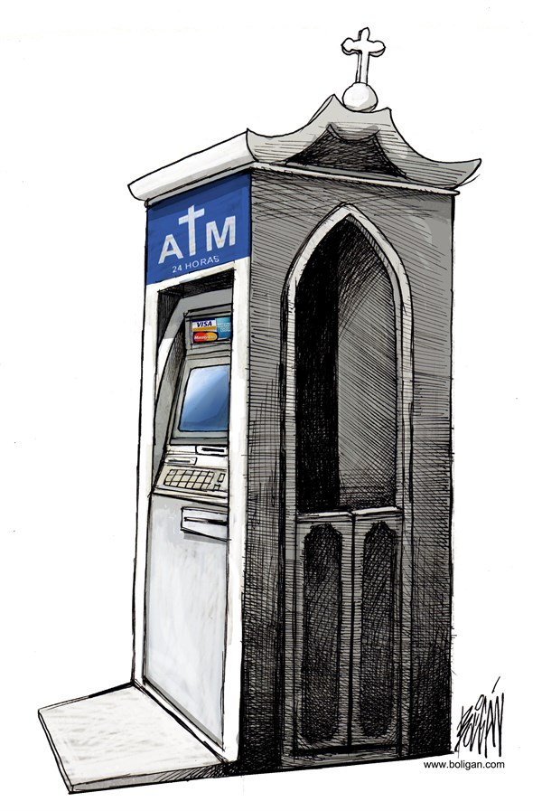 Angel Boligan - El Universal, Mexico City, www.caglecartoons.com - Catholic Finance - English - ATM,automatic teller machine,bank,banking,economic,business,religion,confession,confessional,catholic,vatican bank