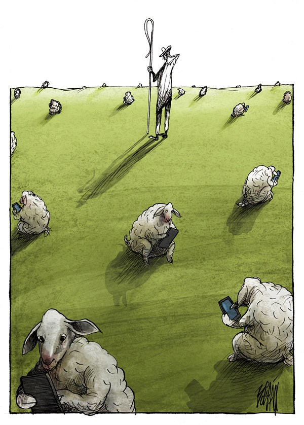 Social Network © Angel Boligan,El Universal, Mexico City, www.caglecartoons.com,Internet,Facebook,Twitter,social,network,sheep,shepherd,iphone,cell,phone,networks,networking,connection
