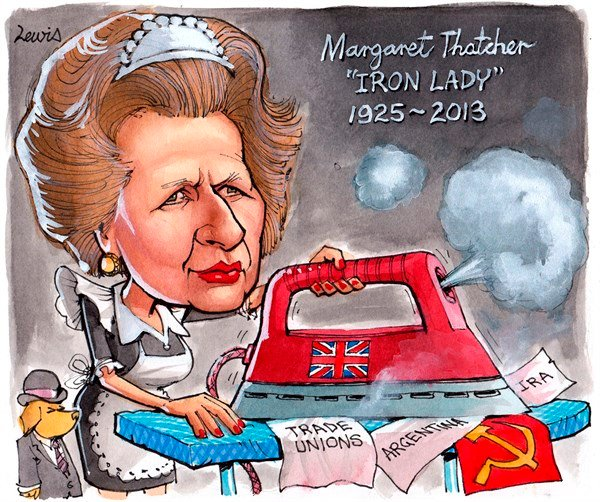 Peter Lewis - Australia, Politicalcartoons.com - The Iron Lady - English - Margaret, Thatcher, Margaret Thatcher, Britain, Iron Lady, PM, Prime Minister, England, Falklands