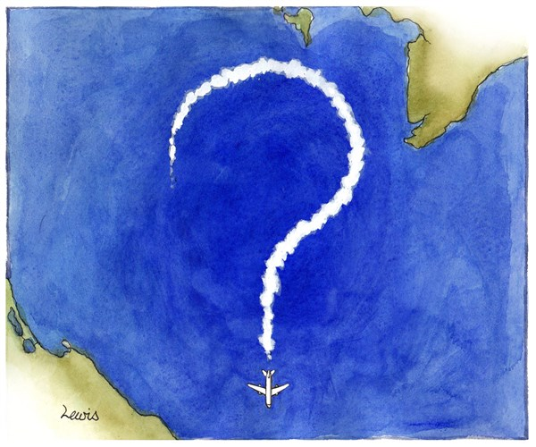 The mystery of Flight MH370 © Peter Lewis,Australia, Politicalcartoons.com,airliner, airline, Malaysia, Malaysian, missing, lost, crash, flight, MH370