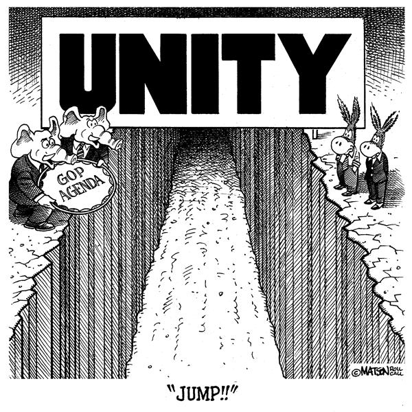 RJ Matson - Roll Call - Republicans Appeal For Unity - English - Republican Party Democratic Party Election 2004 Congress Unity