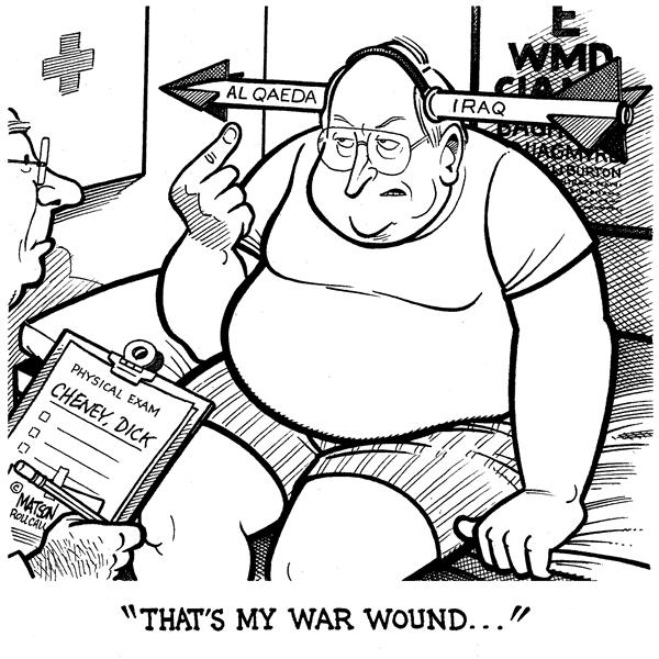 RJ Matson - Roll Call - Dick Cheney Shows Army Doctor His War Wound - English - Iraq Al Qaeda Saddam Hussein Pretext For War Dick Cheney Intelligence Failure