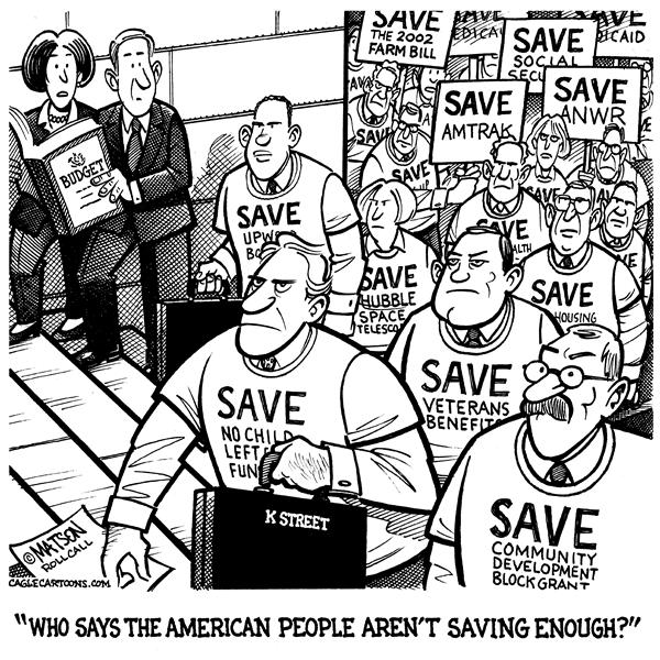 RJ Matson - Roll Call - America's Rising Savings Rate - English - Federal Budget, Budget Cuts, Program Cuts, Congress, Lobbyists, Special Interests