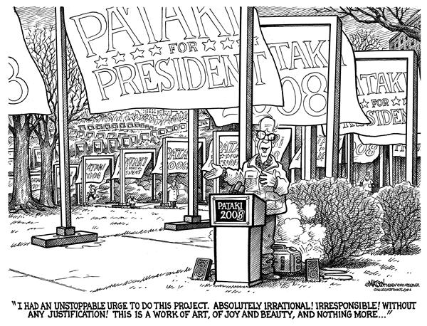 RJ Matson - The New York Observer - New York Governor George Pataki's Presidential Campaign Is Inspired By Christo's Public Art In Central Park - English - 2008 Presidential Campaign, New York Governor George Pataki, Chritso, The Gates