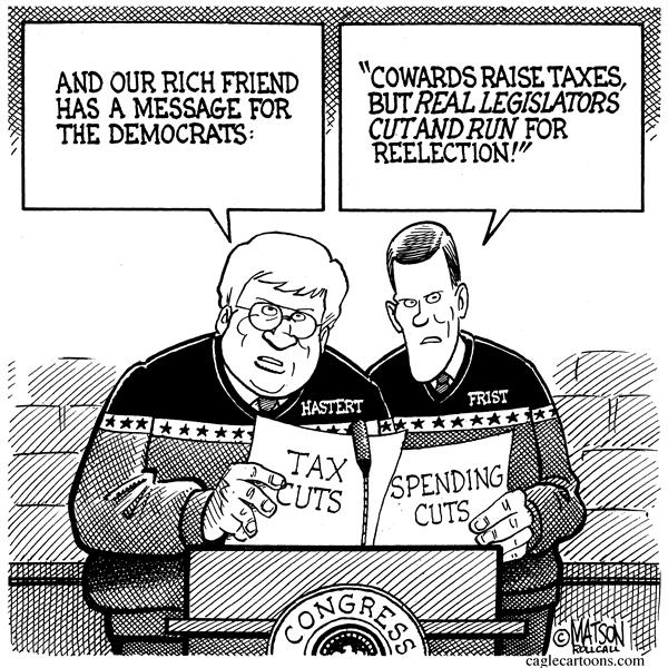 RJ Matson - Roll Call - Cut And Run Republicans - English - Cut And Run, Republicans, Republican Party, Tax Cuts, Spending Cuts, Federal Budget, Deficits, Congress, Bill Frist, Dennis Hastert, Senate, House Of Representatives