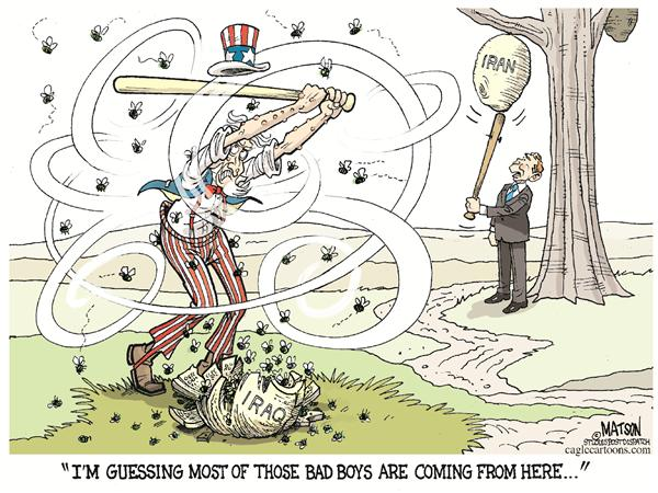 RJ Matson - The St. Louis Post Dispatch - Iraq Hornets Nest-COLOR - English - Iraq, Hornets Nest, Insurgency, Insurgents, War On Terror, Terrorist, Terrorists, Uncle Sam, President george W. Bush, Middle East, Iran