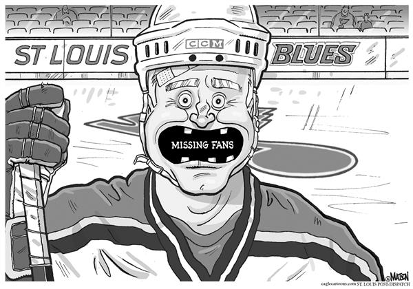 RJ Matson - The St. Louis Post Dispatch - Local MO-St. Louis Blues Missing Fans - English - St. Louis, Blues, Hockey, Missing, Fans, Low, Attendance