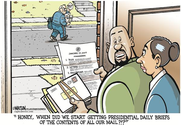 RJ Matson - The St. Louis Post Dispatch - Cheney Reads Your Mail-COLOR - English - Mail, Spy, Spying, Surveillance, White House, President, Presidential, Daily, Brief, Vice-President, Cheney