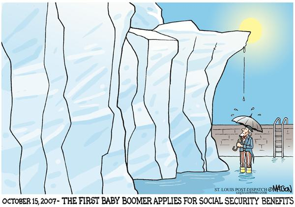 First Baby Boomer Applies For Social Security-COLOR © RJ Matson,The St. Louis Post Dispatch,Social Security, Baby Boomer Generation, Uncle Sam, Federal Government