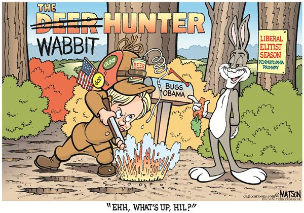 Hillary Fudd In The Deer Hunter © RJ Matson,The New York Observer,Hillary Fudd In The Deer Hunter, Wabbit, Hillary Clinton, Barack Obama, Elmer Fudd, Bugs Bunny, Pennsylvania Primary, Campaign 2008, Guns, God, Beer, Bitter, Angry, Hunter, Hunting