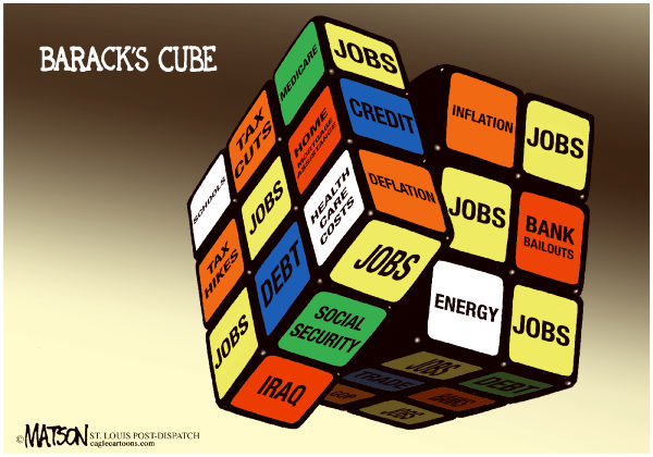 RJ Matson - The St. Louis Post Dispatch - Barack's Cube-COLOR - English - Barack's Cube, Rubik's Cube, President Obama, Jobs, The Economy, Economic Recovery, Tax Cuts, Tax Hikes, Stimulus, Home Mortgages, Banks, Bailouts, Energy, Iraq, Health Care, Inflation, Deflation
