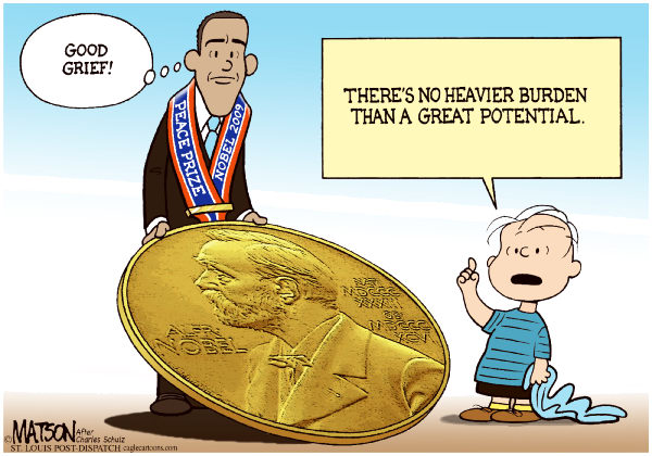 RJ Matson - The St. Louis Post Dispatch - Obama Nobel - English - Obama Nobel, President Obama, Nobel Peace Prize, Linus Van Pelt