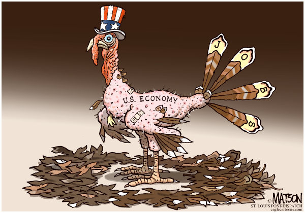 Plucked Economy-COLOR © RJ Matson,The St. Louis Post Dispatch,Plucked Economy, Jobs, US Economy, Unemployment, Jobless Recovery