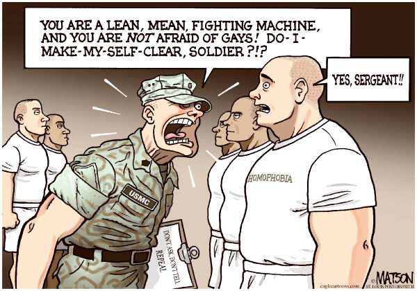 Boot Camp For Homophobes-COLOR © RJ Matson,The St. Louis Post Dispatch,Boot Camp For Homophobes,Don't Ask,Don't Tell,Gays In The Military,Homophobia