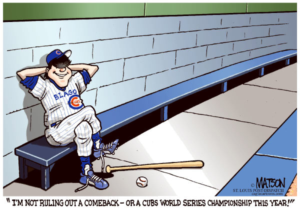 Rod Blagojevich Won't Rule Out A Comeback-COLOR © RJ Matson,The St. Louis Post Dispatch,Rod Blagojevich Won't Rule Out A Comeback, Illinois, Governor, Chicago Cubs, World Series, Conservative